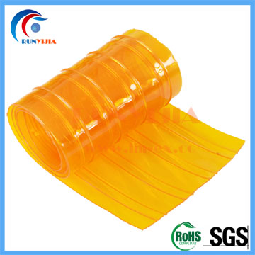200mm x 2m orange double ribbed antiinsect pvc soft door curtains